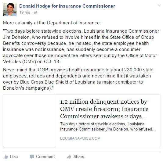 A Facebook post by Democratic candidate Donald Hodges is shown. (Screenshot from www.facebook.com/DonaldHodgeCommissioner)