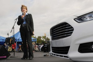 Ford Fusion line director Judy Curran participates in an event for the launch of the 2013 Ford Fusion on Sept. 18, 2012. (Provided by Ford)