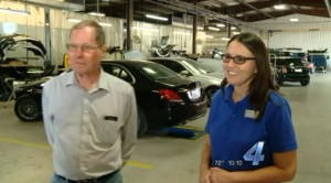 Oklahoma City-based KFOR has warned viewers about parking lot offers to eliminate dents and gives a nice plug to legitimate collision repairers in the process. Seen here in this video screenshot are Les Vanvost, left, and Kristi Wano of G.W. Wano and Son Auto Body. (Screenshot from www.kfor.com video)
