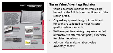 "Nissan collision parts aftersales growth manager Mark Zoba confirmed in an email that the manufacturer does have an alternative OE program. However, it's ""primarily focused on mechanical parts,"" though Opt-OE radiators are now offered for the ""collision side of the business."" (Provided by Nissan)"
