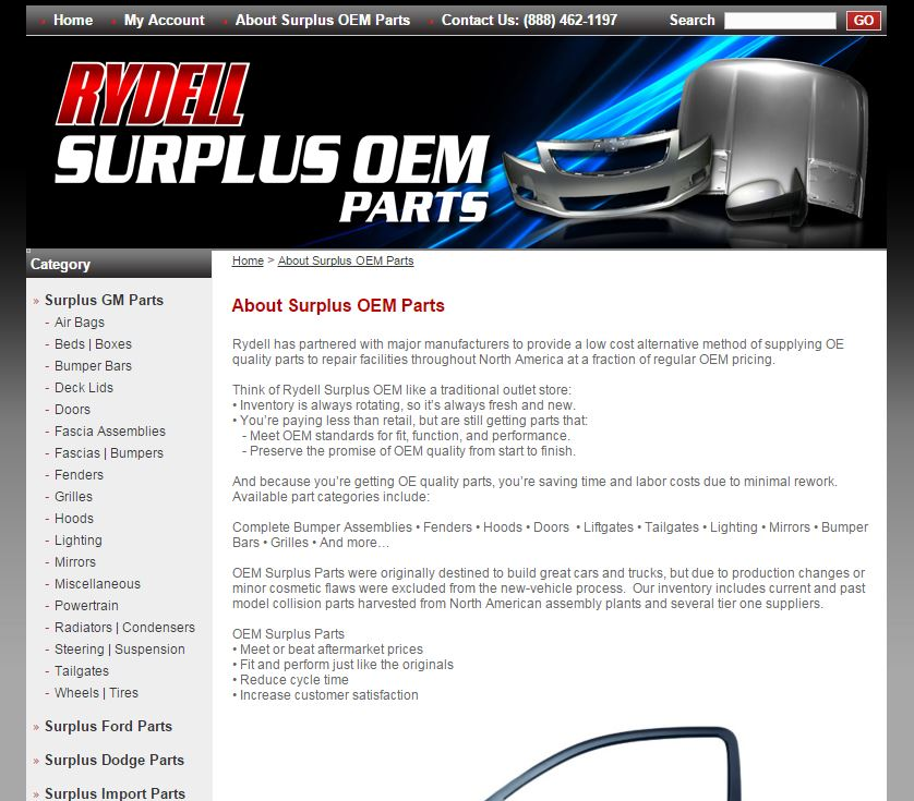 Rydell Chevrolet's website contained language Sunday regarding surplus OEM parts that was similar to that alleged by Hyundai as a misleading representation of Genuine Hyundai parts. (Screenshot from www.surplusoem.com)