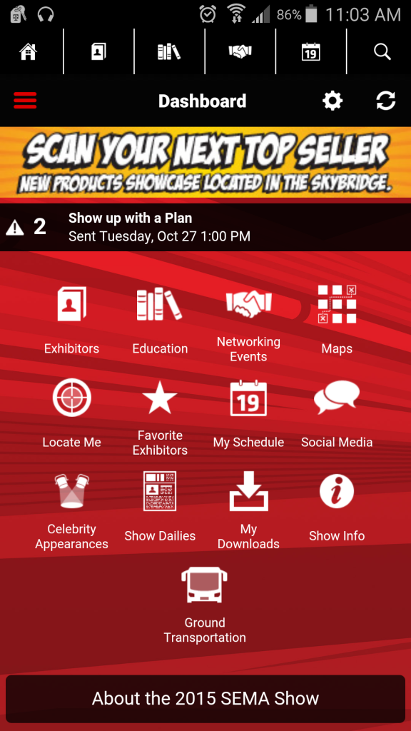 There's an official SEMA app designed to enhance the experience for attendees. (Screenshot from SEMA Show app)