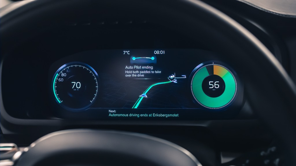 Volvo unveiled this week an IntelliSafe Auto Pilot steering wheel designed to let drivers easily shift between having the car drive and doing the work themselves. (Provided by Volvo)