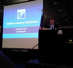 Randy Stabler, chairman of the Collision Industry Conference, speaks Nov. 3, 2015, in Las Vegas. (John Huetter/Repairer Driven News)