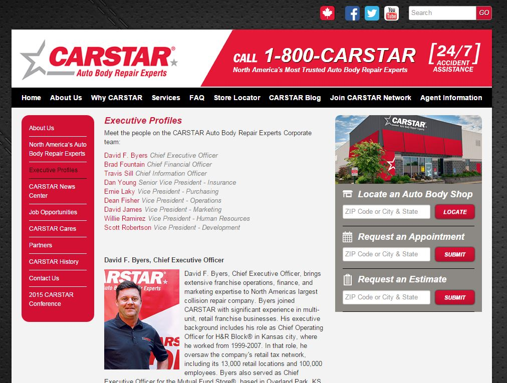 The old management team led by CEO David Byers remained on CARSTAR's website early afternoon Nov. 22, 2015. (Screenshot of www.carstar.com)