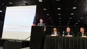 The Collision Industry Conference education panel at the Nov. 3 CIC in Las Vegas. (John Huetter/Repairer Driven News)
