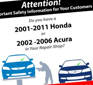 """Calling it a """"unique initiative,"""" Honda on Thursday announced it will ask independent mechanical and collision repair shops to check customers models against the years receiving Takata airbag inflator recalls. (Provided by Honda)"""