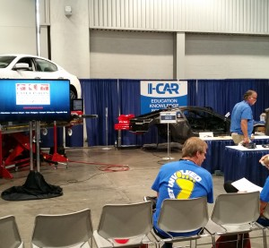 The I-CAR demo booth between courses at SEMA 2015. (John Huetter/Repairer Driven News)