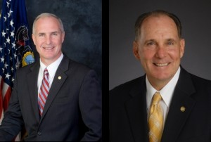 Republican Pennsylvania state Reps. Thomas Murt, left, and Stephen Berrar both opposed a bill allowing photo-only auto insurance appraisals. (Provided by Pennsylvania Legislature)