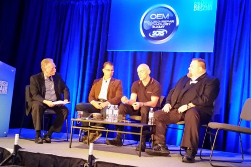From left, moderator Steve Marks, I-CAR industry technical support manager; Advanced Collision Repair Solutions President Oliver Woelfel; Wielander+Schill chief engineer and director Klaus Reitzig; and Jason Scharton, 3M automotive OEM business development manager, participate in the SCRS OEM Technology Summit.  (John Huetter/Repairer Driven News)
