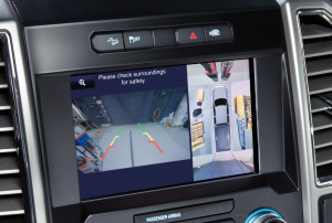 A view from the 2015 Ford F-150s 360-degree camera is shown at right. (Provided by Ford)