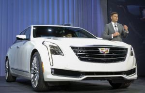 Cadillac global design  executive director Andrew Smith shows the Cadillac CT6 on March 31 before the New York International Auto Show. (Mike Appleton for Cadillac/Copyright General Motors)