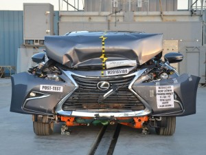 A 2016 Lexus ES 350 after a 35 mph NHTSA frontal crash test. (Provided by NHTSA)