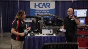 """Offering some new highlights as well as older favorites,  Collision Hub CEO Kristen Felder and I-CAR Director of Industry Technical Relations Jason Bartanen described """"Cool Tools"""" at SEMA 2015. (Screenshot from Collision Hub YouTube video)"""
