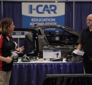 "Offering some new highlights as well as older favorites,  Collision Hub CEO Kristen Felder and I-CAR Director of Industry Technical Relations Jason Bartanen described ""Cool Tools"" at SEMA 2015. (Screenshot from Collision Hub YouTube video)"