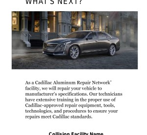 Finally, while only Cadillac dealerships can use Cadillac's trademarks or corporate signage, independent shops are allowed to advertise they're part of the Aluminum Repair Network. Pictured is part of a sample advertisement. (Provided by Chrysler)