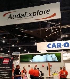 The AudaExplore booth is shown Nov. 6., 2015, at SEMA. (John Huetter/Repairer Driven News)