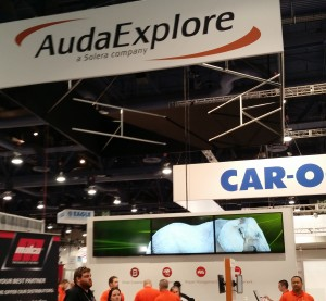 The AudaExplore booth is shown Nov. 6., 2015, at SEMA. (John Huetter/Repairer Driven News)