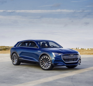 The Audi e-tron Quattro concept is shown. (Provided by Audi.)