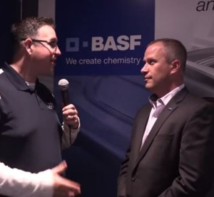 SCRS Executive Director Aaron Schulenburg, left, talks to BASF marketing director Dan Bihlmeyer in this screenshot from Collision Hub video. (Screenshot from Collision Hub YouTube channel)