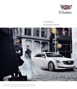 """In the event of a collision, you will have all the support you need to get your vehicle to a Cadillac dealer,"" a Cadillac brochure for CT6 customers states. ""With OnStar service or Roadside Assistance, we will help you in finding the nearest Cadillac Aluminum Repair Network facility."" (Provided by Cadillac)"