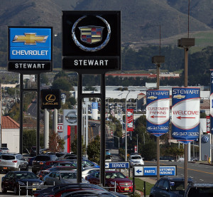 Cars sit on the sales lot of a Chevrolet dealership on January 3, 2013, in Colma, Calif. (Justin Sullivan/Getty Images News file/Thinkstock file)