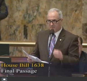 State Rep. Tom Murt, R-Montgomery County/Philadelphia County, seen in this screenshot of Dec. 7, 2015 Pennsylvania House video, sought to send  House Bill 1638 back to the Veterans Affairs & Emergency Preparedness Committee for a full hearing.  He was unsuccessful. (Screenshot of Pennsylvania House video on www.house.state.pa.us)