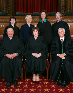 The Ohio Supreme Court is pictured. Back row from left: Justices  Judith French, Judith Lanzinger, Sharon Kennedy and William O'Neill. Front row from left:  Justice Paul Pfeifer, Chief Justice Maureen O'Connor and Justice Terrence O'Donnell. (Provided by Ohio Supreme Court)