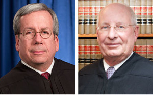 Ohio Supreme Court Justices William O'Neill and Paul Pfeifer, right, dissented in Dillon v. Farmers. (Provided by Ohio Supreme Court)
