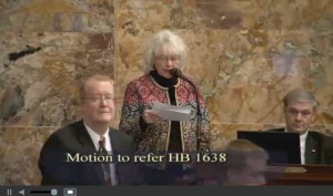 Rep. Tina Pickett, R-Bradford County/Sullivan County/Susquehanna County, argues against a motion to refer House Bill 1638 to another House committee in this screenshot from House video. (Screenshot of Pennsylvania House video on www.house.state.pa.us)