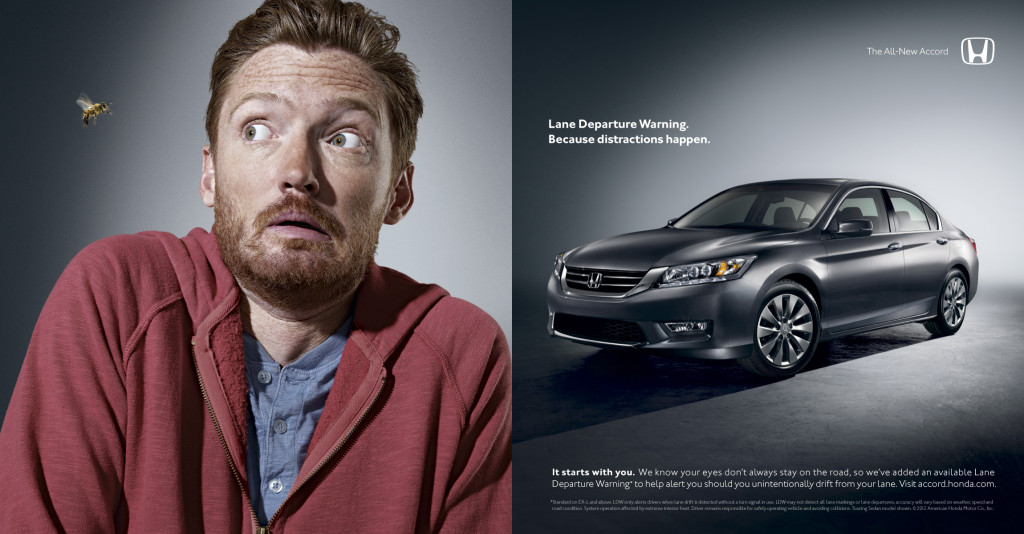 A 2013 ad for the 2013 Honda Accord hypes lane departure warning. (Provided by Honda)