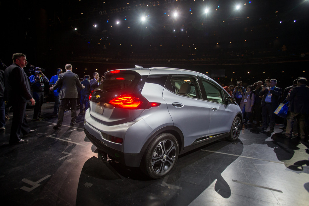 The 2017 Chevrolet Bolt EV is revealed on Jan. 6, 2016, at the Consumer Electronics Show. (Steve Fecht for Chevrolet/Copyright General Motors)