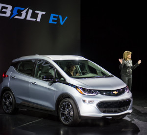 General Motors Chairman and CEO Mary Barra debuts the 2017 Chevrolet Bolt EV on Jan. 6, 2016, at the Consumer Electronics Show. (Steve Fecht for Chevrolet/Copyright General Motors)
