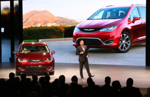 FCA passenger car brands head Tim Kuniskis introduces the 2017 Chrysler Pacifica at the North American International Auto Show on Jan. 11, 2016. (Provided by FCA)