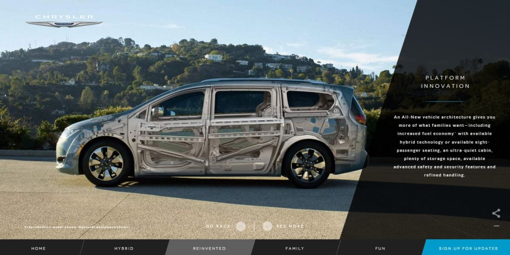 This screenshot shows what FCA indicates is some of the skeleton of the 2017 Chrysler Pacifica. (Screenshot of www.chrysler.com)