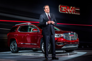 General Motors product development Executive Vice President Mark Reuss speaks at the unveiling of the 2017 GMC Acadia Denali on Jan. 12, 2016, at the North American International Auto Show. (Steve Fecht for GMC/Copyright General Motors)