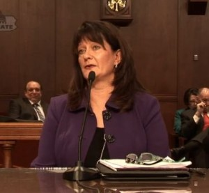 AudaExplore government affairs Director Diane Klund, seen in this screenshot from video provided by Pennsylvania Senate Banking and Insurance Committee Chairman Don White, testified before the committee Jan. 27, 2016. (Screenshot from video at www.senatordonwhite.com)
