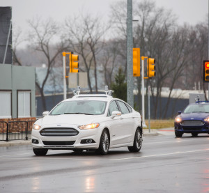 Ford Fusion hybrids  equipped with the previous version of Velodyne LiDAR can be seen at the University of Michigan's Mcity. (Provided by Ford)
