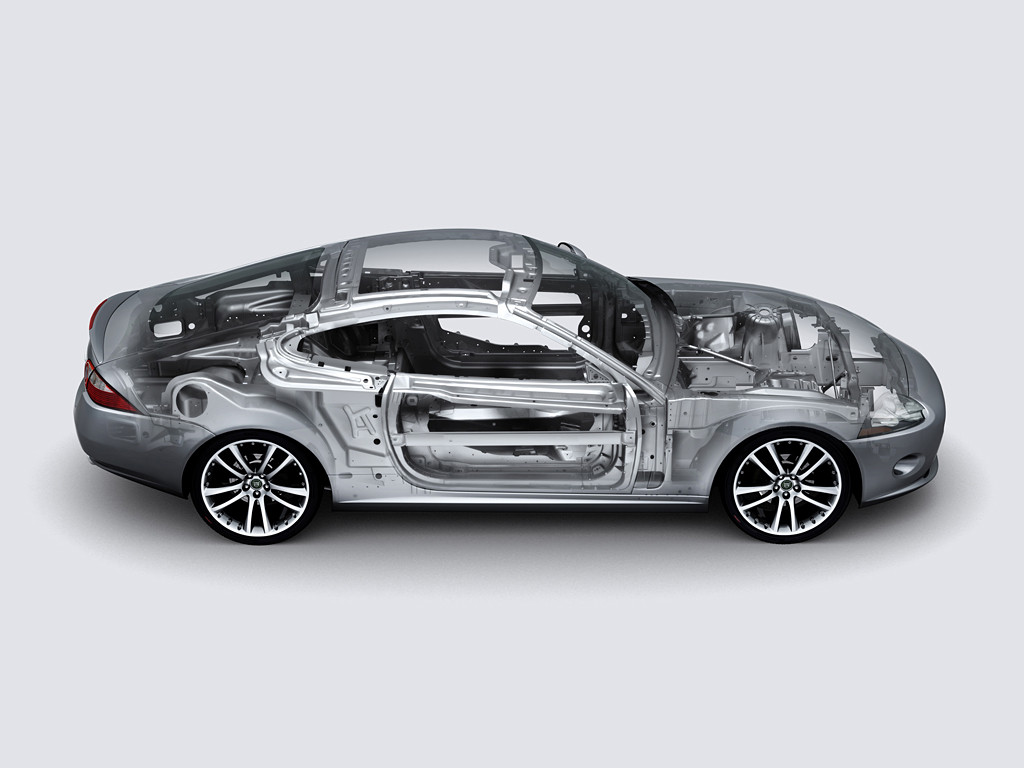 An unspecified Jaguar XK aluminum body is shown. (Jaguar Land Rover via International Aluminum Institute)