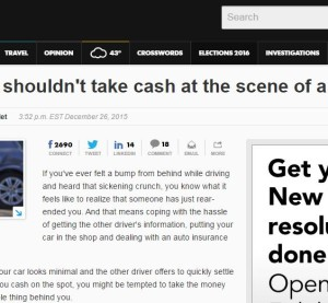 This NerdWallet content related to hidden collision damage appeared on USA Today's website Dec. 26, 2015. (Screenshot of NerdWallet content on www.usatoday.com)