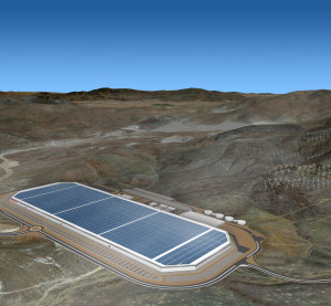 A rendering of the Nevada Tesla gigafactory is shown. (Provided by Tesla)
