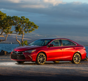The high-end 2015 Toyota Camry XSE is shown. An additional technology options package raises the MSRP of the car's grille emblem to more than $900. (Provided by Toyota)