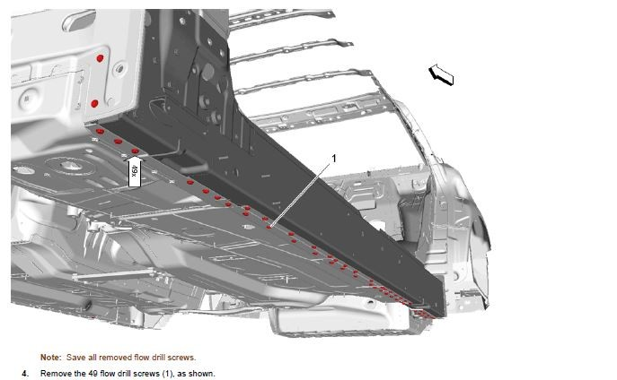 General Motors has provided some detailed guidelines for repairing the 2016 Cadillac CT6. This image shows part of the recommendations related to flow-drill screws and the rocker panel replacement. (Provided by General Motors)