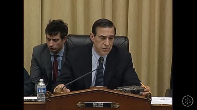 Subcommittee Chairman Darrell Issa, R-Calif., seen here in a screenshot from subcommittee video, speaks Feb. 2, 2016, during the Courts, Intellectual Property, and the Internet Subcommittee of the House Judiciary Committee hearing on the PARTS Act. (Screenshot from House subcommittee video on YouTube)