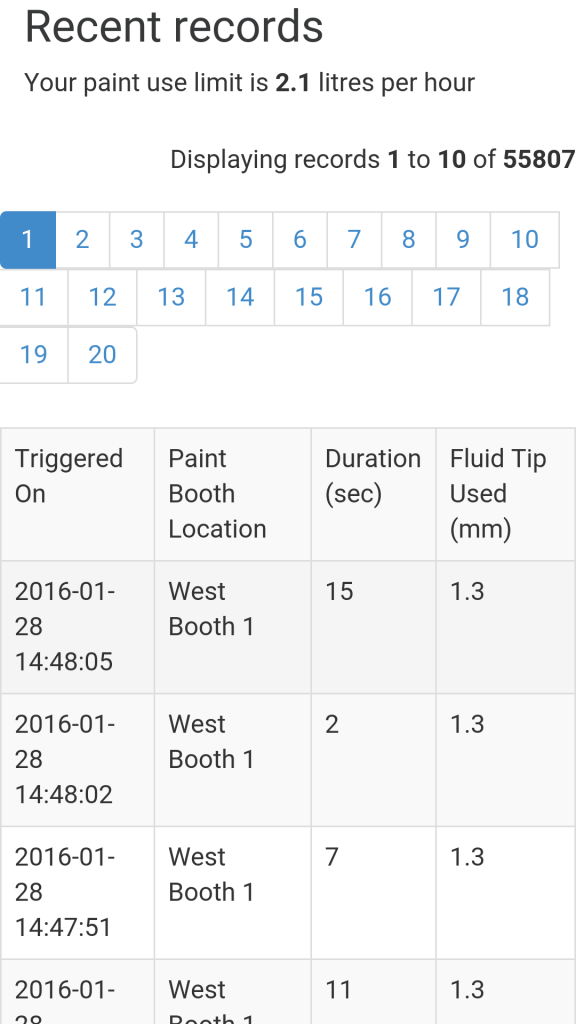 A screenshot demonstrates the paint usage monitoring product from Enviro Database Solutions. (Provided by Enviro Database Solutions)