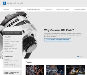 """General Motors has overhauled its """"Genuine GM Parts"""" website for collision repairers. (Screenshot of www.genuinegmparts.com)"""