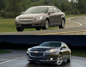 The 2010 Chevrolet Malibu LTZ, top, and 2015 Chevrolet Malibu are shown. (Provided by Chevrolet/Copyright General Motors)
