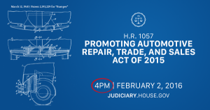 The U.S. House Courts, Intellectual Property, and the Internet Subcommittee hearing on the PARTS Act, House Resolution 1057, should begin at 4 p.m. Feb. 2, 2016.
