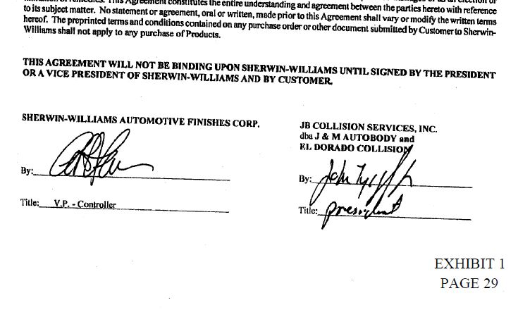 Part of the deal between JB Collision Services and Sherwin-Williams is shown. (Provided by California Southern District Court)