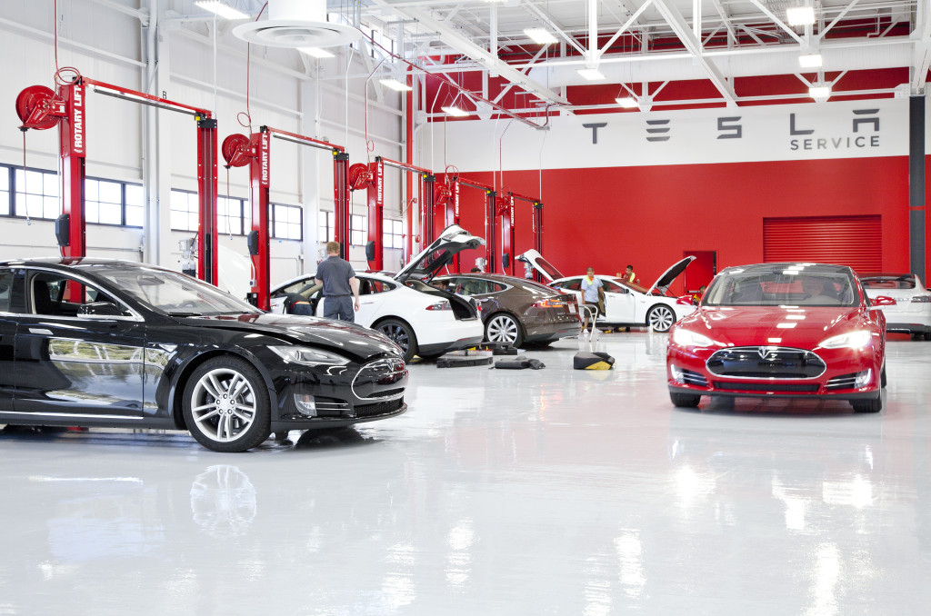 A Tesla service center is shown in this undated photograph provided by Tesla in 2012. (Provided by Tesla)